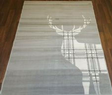 NEW XX Approx 8FTx5FT 160cm x 230cm STUNNING Silver Top Quality Checked Stag.